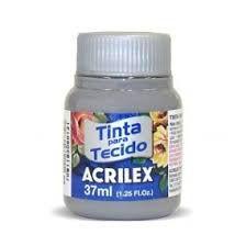 TINTA CINZA P/TECIDO ACRILEX POTE 37ML