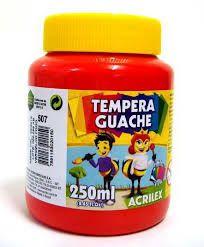 TINTA TEMPERA GUACHE 250 ML ACRILEX VERMELHO FOGO