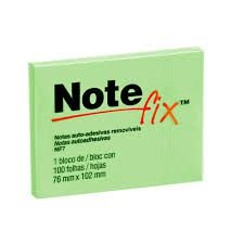 BLOCO POST-IT NOTE FIX NF7 76X102 VERDE