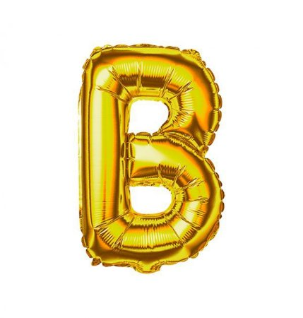 """BALAO METALIZADO 14"""" DOURADO LETRA """"B"""""""