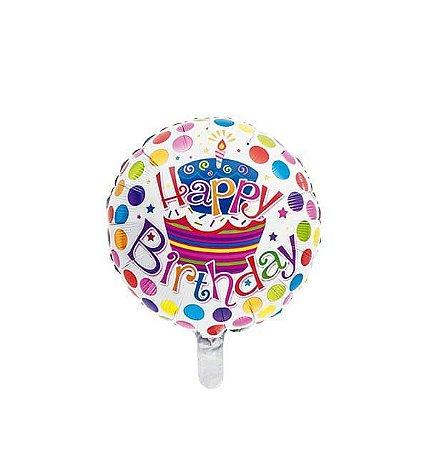 "BALAO METALIZADO 18"" HAPPY BIRTHDAY POA"