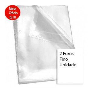 ENVELOPE PLASTICO 1/2 OFICIO 2 FUROS  0,10 FINO (UNIDADE)