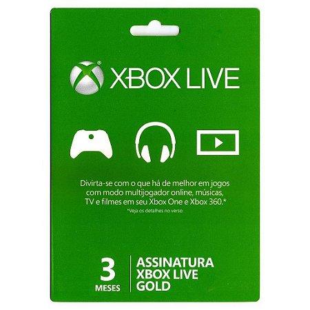 Cartão Assinatura 03 Meses Xbox Live Gold - Código Digital