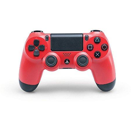 Controle Dualshock 4 Sem Fio Vermelho - Com led frontal - PS4