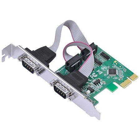 PLACA SERIAL COM 2 SAÍDAS RS232, RS485, RS422 PCI EXPRESS PCI-E X1 COM LOW PROFILE - P2IE-LP