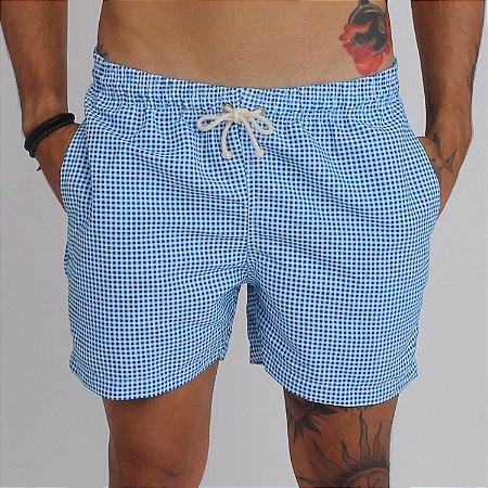 Short Estampado - Azul Quadriculado