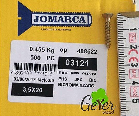 Parafuso Bicromatizado Cabeça Chata PHS Phillips 3,5 X 20 mm (500 PÇs) - JOMARCA 03121