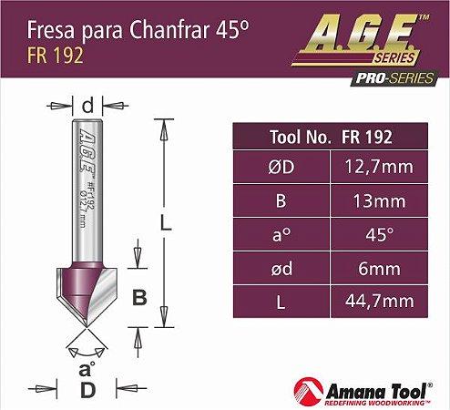 """Amana Tool - AGE™ Pro-Series - Fresa em """"V"""" - V-Groove 45 - Haste 6 mm [FR192]"""