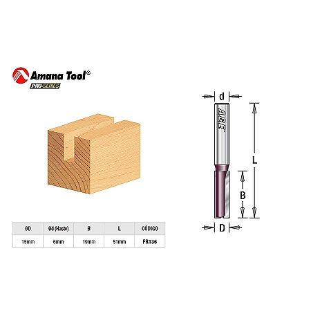 Amana Tool - AGE™ Pro-Series - Fresa Reta Paralela 15mm Túpia Haste 6mm [FR136] Straight Plunge