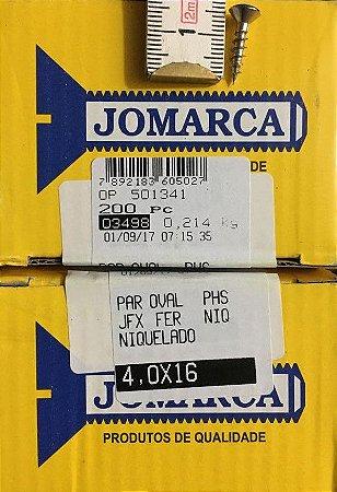 JOMARCA - Parafuso CO Niquel 4,0 X16 mm (200 PÇs) 03498 - Nacional