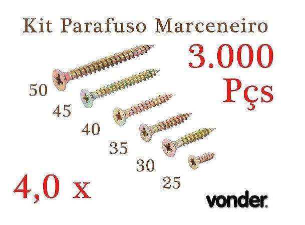 VONDER Parafuso Madeira 4,0 x 25-30-35-40-45-50 (3.000 Pçs)