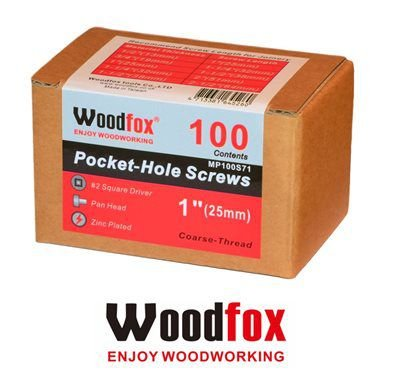 WOODFOX - Parafusos Pocket Hole - Rosca Grossa 1 in (25mm) 100 pçs MP100S71