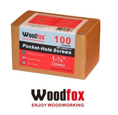 WOODFOX - Parafusos Pocket Hole - Rosca Grossa 1.25 in (32mm) 100 pçs MP100S8114