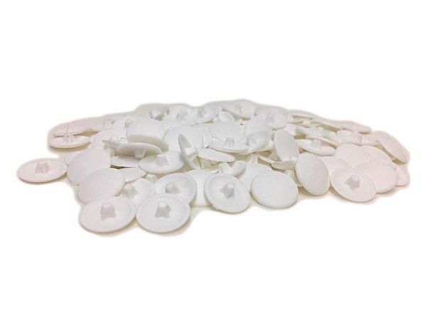 BIGFER - Tampa Ø12 para Parafuso em Polímero = 100 und - Cabeça Chata (Branco) 10.04.023.005