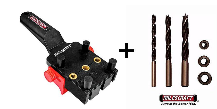 Milescraft - Kit - Gabarito p/ furação Cavilhas 1369 + Brocas c/ Limitadores 2369
