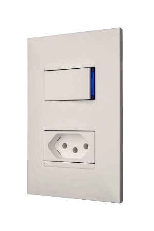 Legrand - PIAL Plus+ - Conjunto 1 Interruptor Simples 10A + 1 Tomada 2P+T 10A 4X2 Branca 615074BC