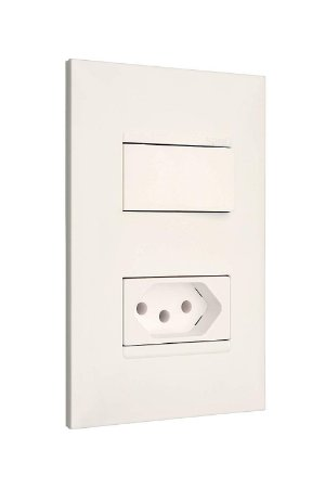 Legrand - PIAL Plus+ - Conjunto 1 Interruptor Simples 10A + 1 Tomada 2P+T 20A 4X2 Branca 615073BC