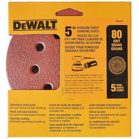 """Dewalt - Discos Lixa 5"""" Grão 080 Grosso DW4301-X - 8 Furos c/ 5 peças"""