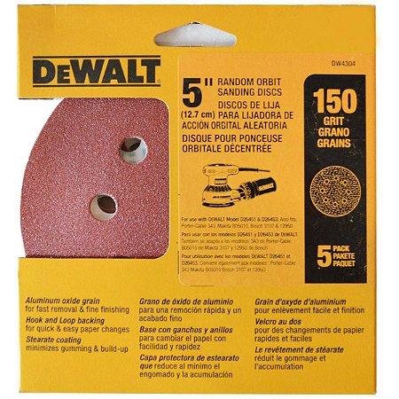 """Dewalt - Discos Lixa 5"""" Grão 150 Fino DW4304-X - 8 Furos c/ 5 peças"""
