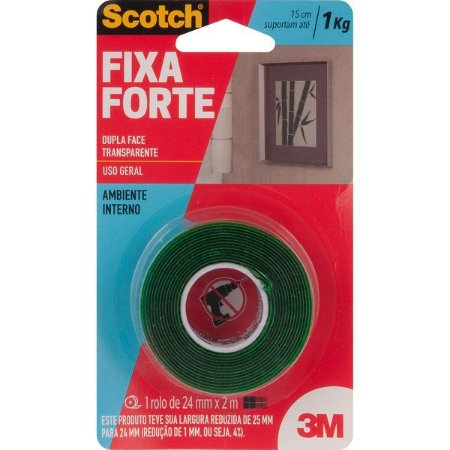 3M - Fita Dupla Face - Fixa Forte - 24mm x 2m - 10.46.002.402