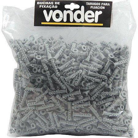 VONDER - Bucha Plástica de Fixação - 06mm - com Anel - VA-6 - Pacote 1.000 peças