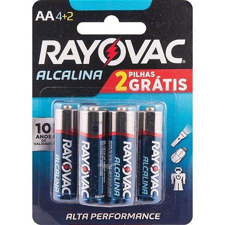 "RAYOVAC - Pilha Alcalina ""AA"" Pequena - Cartela com 6 peças"
