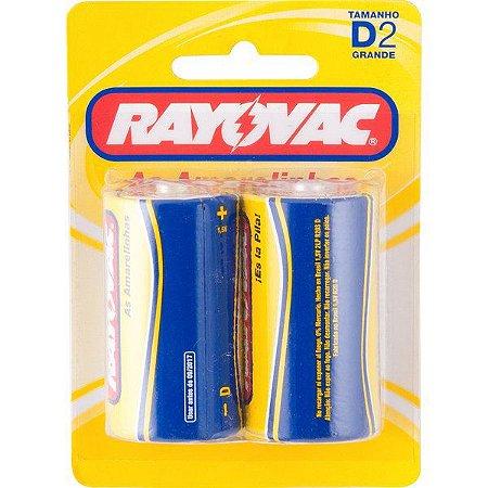 """RAYOVAC - Pilha para Uso Geral """"D"""" Grande - Cartela com 2 peças"""