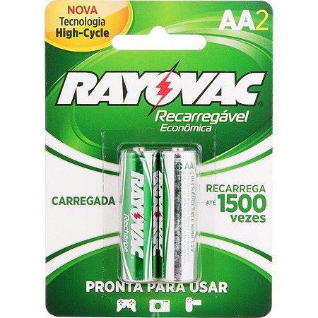 """RAYOVAC - Pilha Recarregável Econômica """"AA"""" Pequena - Cartela com 2 peças"""