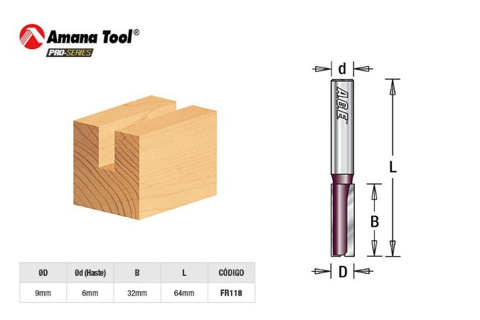 Amana Tool - AGE™ Pro-Series - FR118 - Fresa Reta Paralela 9mm Túpia Haste 6mm - Straight Plunge
