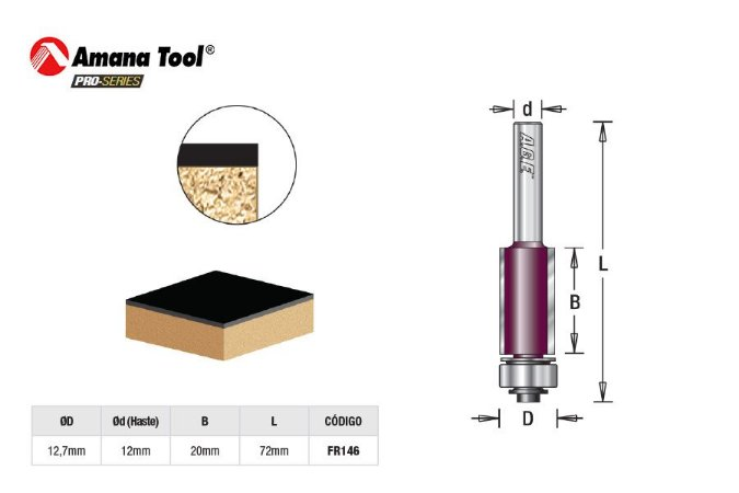 Amana Tool - AGE™ Pro-Series - FR146 - Fresa Reta Paralela 12,7 BØ 20mm c/ Rolamento Inferior - Flush Trim - Haste 12mm