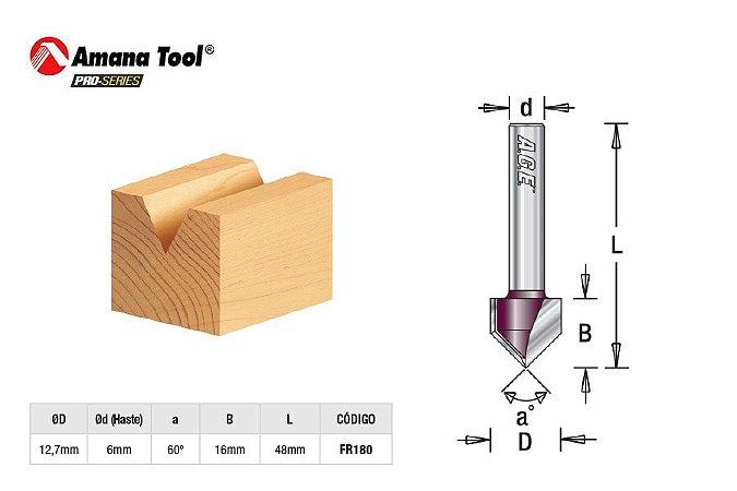 """Amana Tool - AGE™ Pro-Series - FR180 - Fresa em """"V"""" - V Groove 60º - Haste 6mm"""
