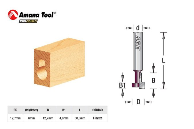 Amana Tool - AGE™ Pro-Series - FR202 - Fresa Canaleta T - Key Hole 12,7mm - Haste 6mm