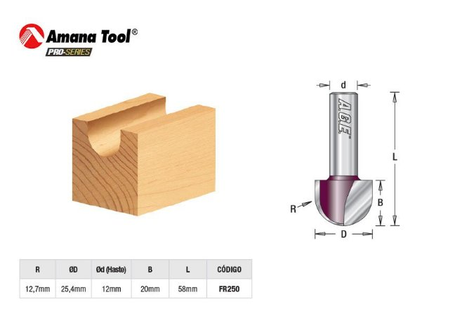 Amana Tool - AGE™ Pro-Series - FR250 - Meia Cana - Raio 12,7mm