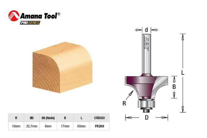 Amana Tool - AGE™ Pro-Series - FR268 - Arredondar c/ Rolamento Raio 10mm