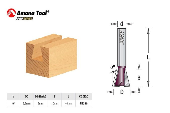 Amana Tool - AGE™ Pro-Series - FR280 - Rabo de Andorinha 9º - Dovetail - Haste 6mm