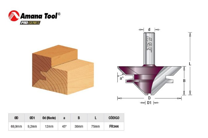 Amana Tool - AGE™ Pro-Series - FR344 - Fresa Lock Miter p/ Colagem em 45° c/ Encaixe - Haste 12mm