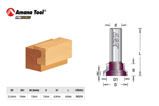 Amana Tool - AGE™ Pro-Series - FR370 - p/ Gaveta  25,4mm - Drawer Lock Joined Bit - Haste 12mm