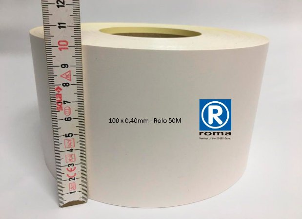 Roma Plastik - Fita de Bordo PVC Branco - TX - 100 x 0,40mm - Rolo 050M