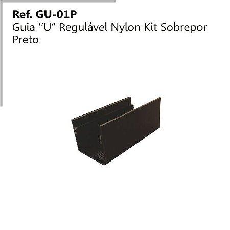 Perfil - Guia - GU-O1 P - Tipo U Regulável em Nylon Preto