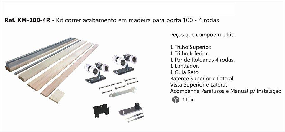 Perfil - Kit p/ Porta de Correr - KM 100 - 4R - Acabamento de madeira p/ porta 4 rodas, Concavo, Perfil 35x35