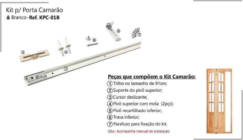 Perfil - Kit p/ Porta de Correr - KPC -01 B - Porta Camarão Branco, Perfil 91 cm