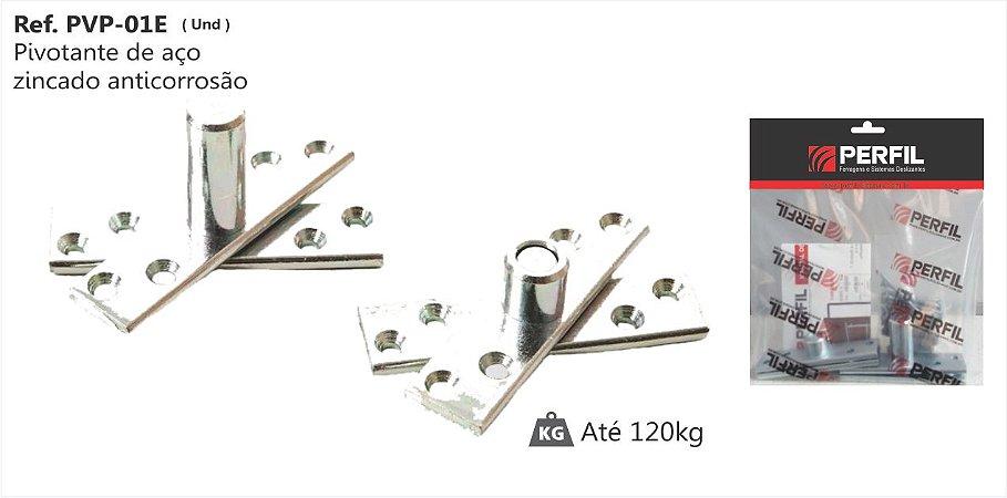 Perfil - Pivotante p/ Porta de aço zincado - PVP-01 E - anticorrosão cromado