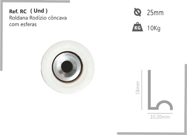 Perfil - Roldana - RC - Rodizio Côncava com esferas