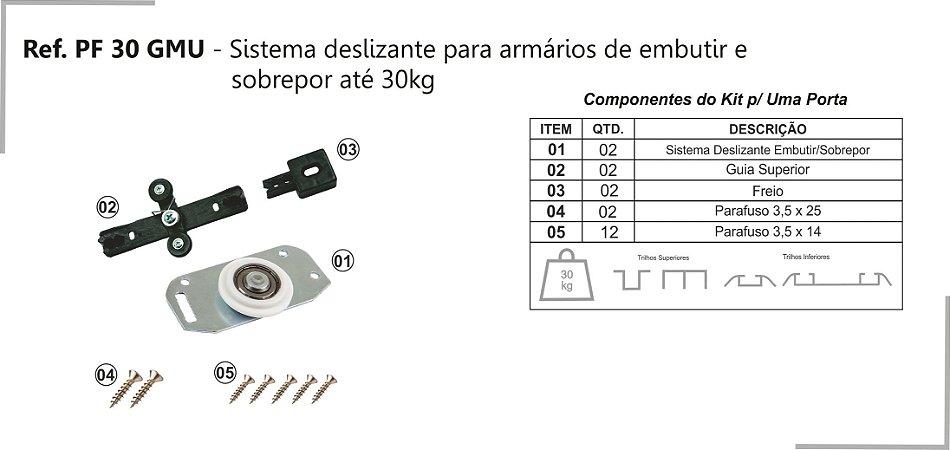 Perfil - Sistema deslizante para armário - PF 30 GMU - Embutir e sobrepor até 30kg