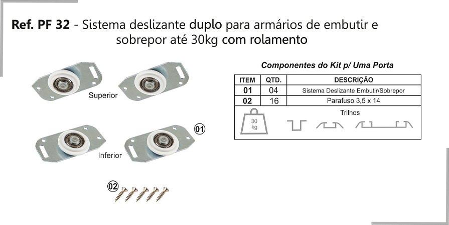 Perfil - Sistema deslizante para armário - PF 32 GMU - Duplo, Embutir e sobrepor até 30kg com rolamento