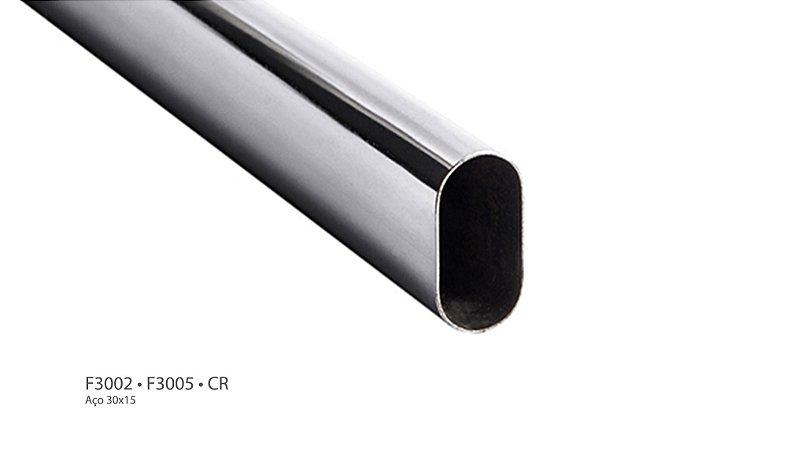 Hardt - Tubo Cabideiro Oval - 3 Metros - 30 x 15mm - Alumínio - F3005