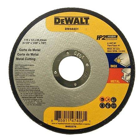 """Dewalt - Disco de Corte HP 2- Metal/Inox - 4 1/2"""" x 1,00mm x 7/8"""" - DW84401"""