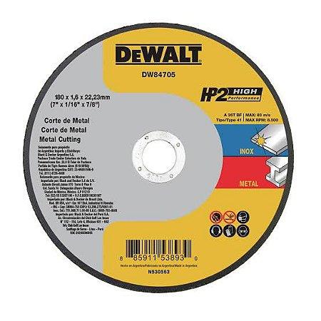 """Dewalt - Disco de Corte HP2 - Metal/Inox - 7"""" x 1,6mm x 7/8"""" - DW84705"""