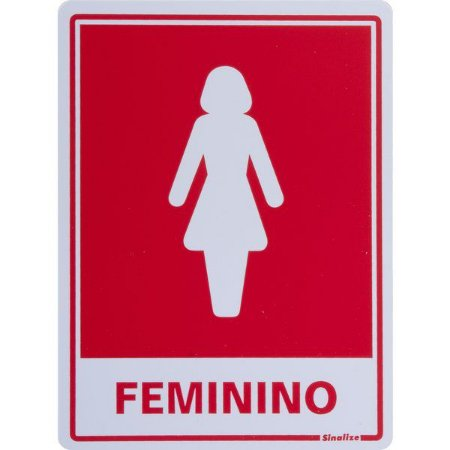 SINALIZE - Placa de Sinalização Poliestireno - Sanitário Feminino - 15 x 20cm
