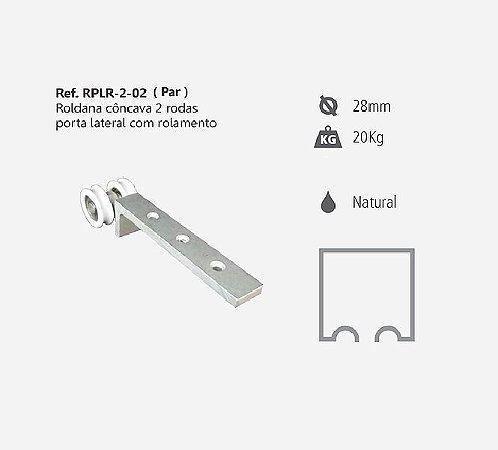 Perfil - Roldana - RPLR 2-02B - Rodízio Côncava 2 Rodas  Porta Lateral c/ Rolamento